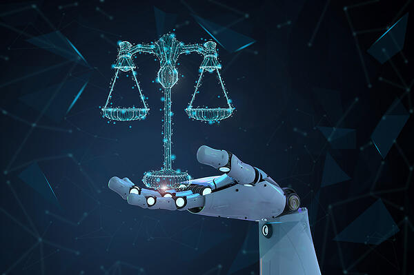 Concept rendering of artificial intelligence's influence on law