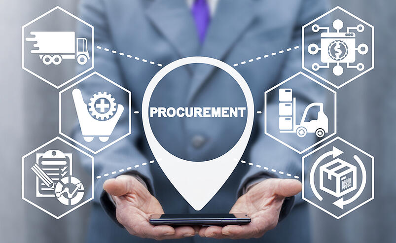 Icons on augmented interface show procurement contract risks