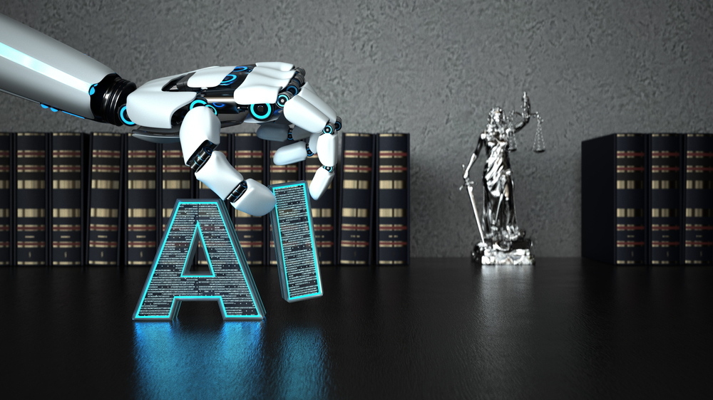 "A robot hand moves the letters ""A"" and ""I"" in front of books on traditional legal bookshelf."