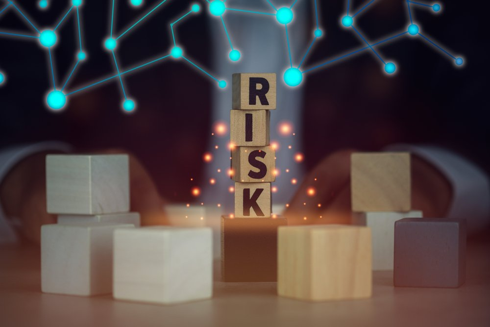 Image with tech graphics representing contract risk scoring